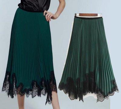 *-*百摺裙*-*歐美新款秋季蕾絲裝飾百褶裙長裙