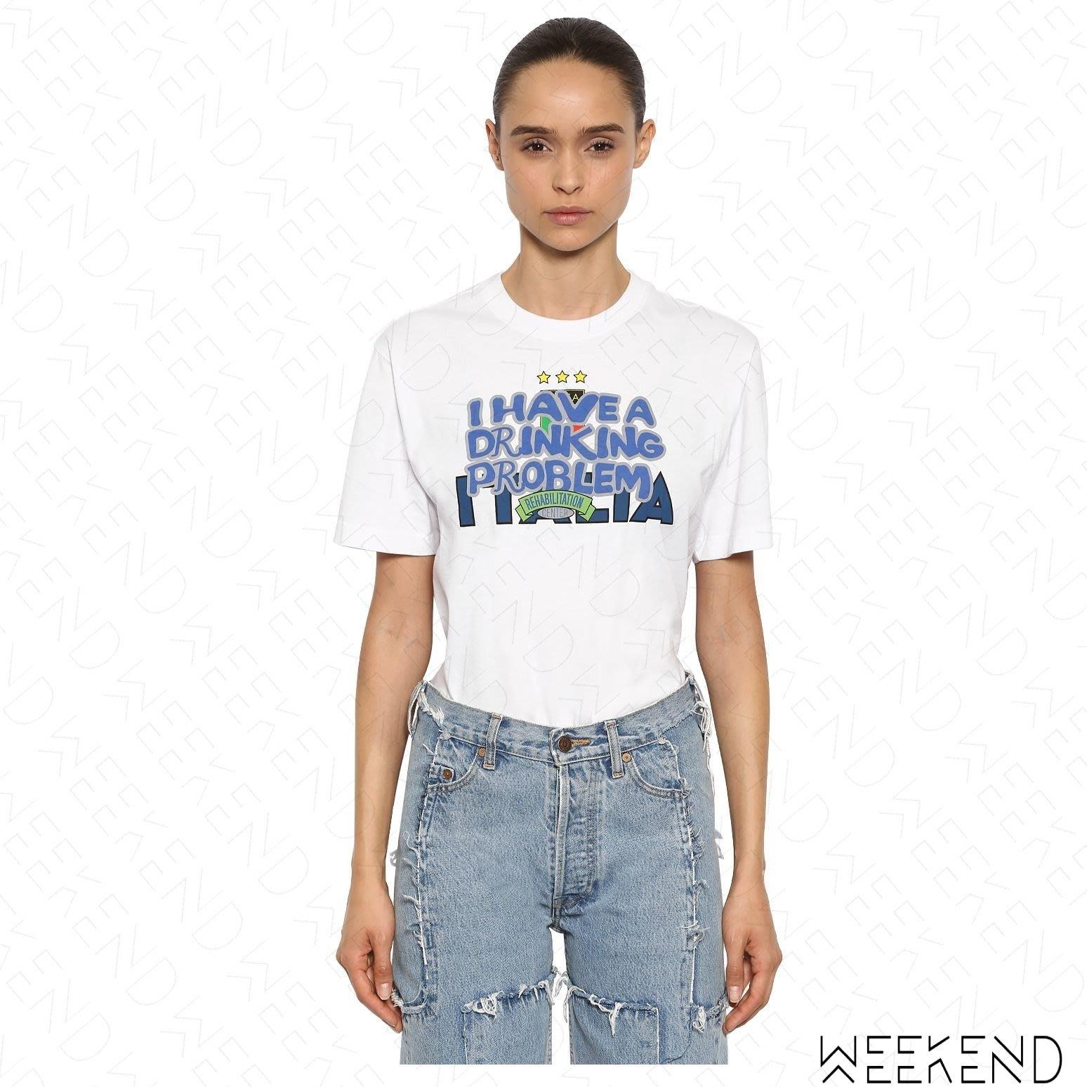 【WEEKEND】 VETEMENTS Drinking Problem 印圖 短袖 T恤 白色 18秋冬