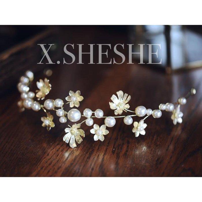 Golicc 新款簡約花朵珍珠時尚大氣新娘頭飾皇冠髮箍攝影跟妝婚紗禮服配飾