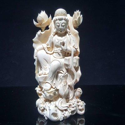 666精品嚴選~長毛象牙(非保育類) 精雕(觀自在) 立體雕刻,細節流暢(特價)