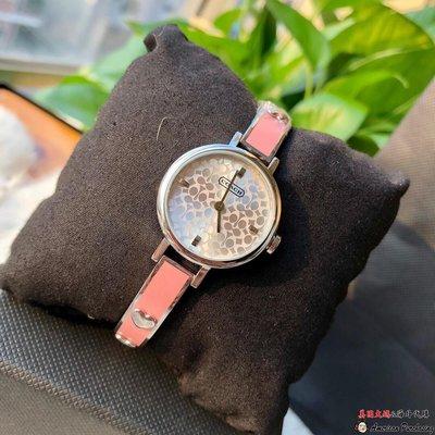 美國大媽代購 COACH 寇馳 時尚彩陶手鍊手錶 經典馬車粉色腕錶 美國代購