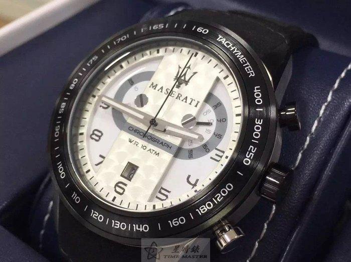 請支持正貨,瑪莎拉蒂手錶MASERATI手錶CORSA款,編號:MA00099,白色錶面黑色皮革錶帶款