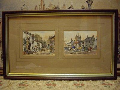 歐洲古物時尚雜貨 英國 一幅2格圖 水彩畫 作者簽名 擺飾品 古董收藏