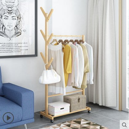 【易生發生活館】實木兒童掛衣架置衣架子家用臥室移動簡易落地衣帽架創意