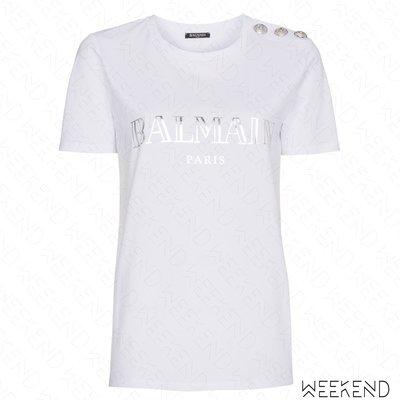 【WEEKEND】 BALMAIN Logo 文字 經典 肩膀鈕扣 銀扣 短袖 T恤 上衣 白+銀色 18春夏新款