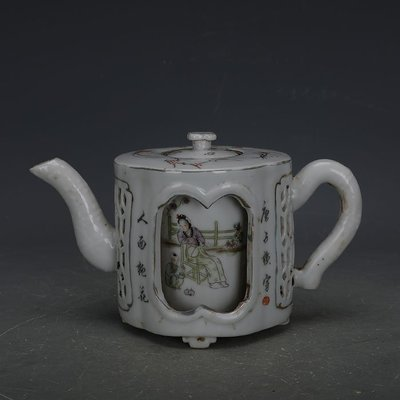 ㊣姥姥的寶藏㊣ 民國淺絳彩雙層鏤空美女紋茶壺民間家藏老貨古瓷器古玩收藏品擺件