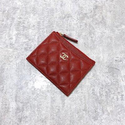 Chanel Coco 拉鍊卡片夾 菱格紋 荔枝皮 金釦 紅色《精品女王全新&二手》