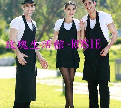 【玫瑰生活館】歐美韓版時尚廚房男女圍裙,工作咖啡西餐廳圍裙工作服圍裙 短,中,長版