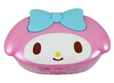 【卡漫迷】 美樂蒂 溼紙巾 按壓盒 ㊣版 日本製 80枚 收納盒 桌上型 盒裝 造型 My Melody 純水 無香精