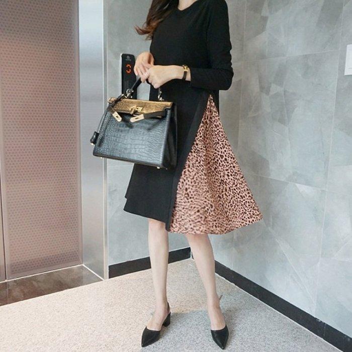 Bellee  正韓  粉豹紋側開衩長袖針織洋裝    F/L 【RQ99332】 預購