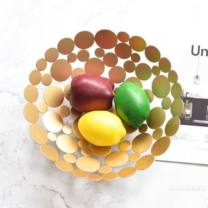 北歐風美式現代歐式奢華客廳金屬創意家用大號水果盤果籃家居擺設尾牙