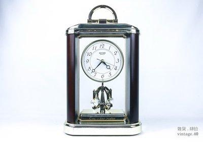 【古物箱】早期 空氣鐘 日本製 石英 指針  鍍金 (骨董 古董 二手 老件)