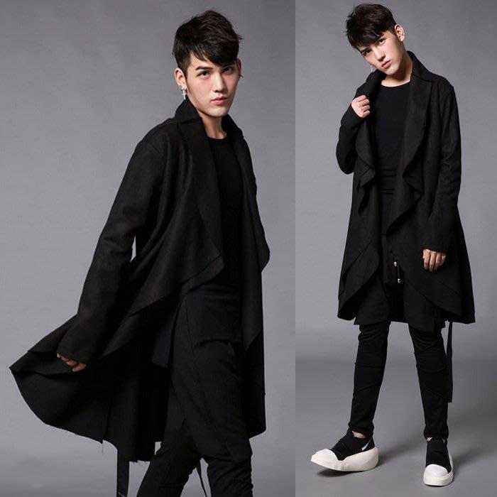 『潮范』 WS10 潮男寬鬆披肩外套 長款男風衣外套 髮型師長大衣 棉質立領外套NRB2630