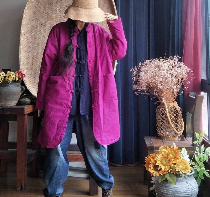 【子芸芳】原創寬鬆棉麻文藝對襟盤扣中長薄鋪棉大衣外套