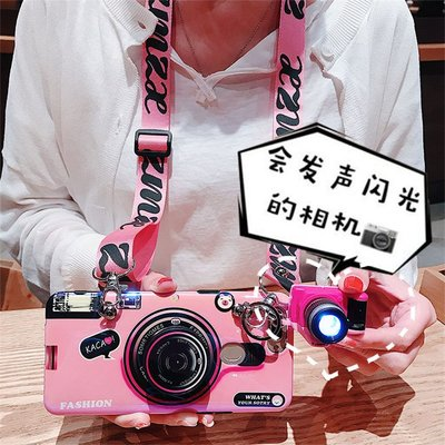 ins風三星s9手機殼s8plus復古相機S7edge硅膠軟殼note8背帶斜挎掛繩note9抖音網紅款s9plus藍光女款潮潮個性