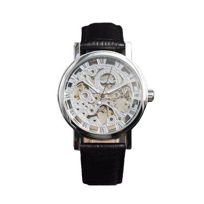 男士手錶手錶女士鏤空機械錶全自動復古皮帶手錶女韓版