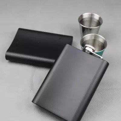 304不銹鋼加厚隨身便攜戶外酒壺8盎司迷你黑色個性小酒壺