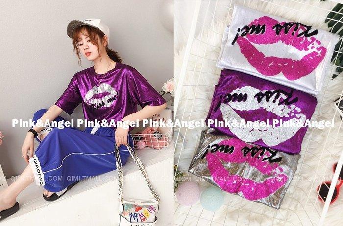 ❤Pink&Angel❤【33666】韓版潮寬鬆百搭INS亮面印花性感嘴唇短袖T恤。3色。現+預