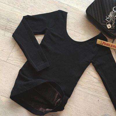 MJ STUDIO【03243】雙U領加厚刷毛內搭黑色素T 保暖內衣 發熱衣 打底衣