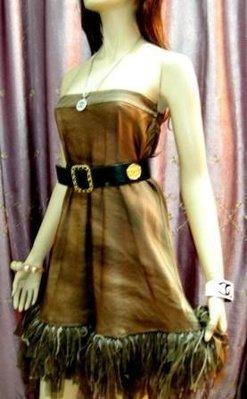 全新吊牌原價九萬 專櫃真品【Moschino】秀服棕色羽毛長裙&可當露肩小洋裝