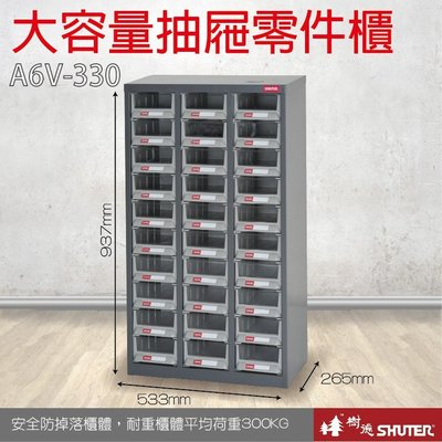 (超值購3台量販)樹德 A6V-330 30格抽屜 裝潢 水電 維修 汽車 耗材 電子 3C 專業零物件分類櫃