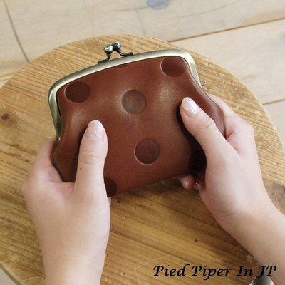 Pied Piper日本代購 CJ141 kanmi自然系水玉圖案紮實牛革雙層珠扣零錢包