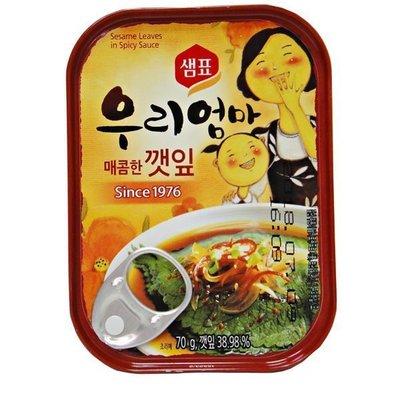 *韓聚*韓國 紫蘇葉罐頭(辣味)70g 配飯涼拌小菜 韓國料理不可或缺的芝麻葉 芝麻葉罐頭