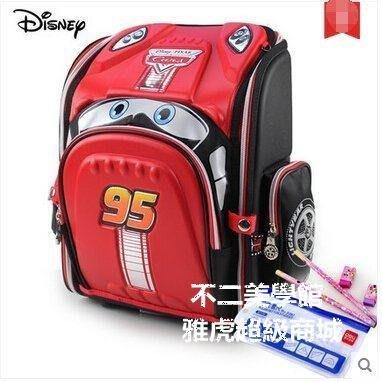 【格倫雅】^迪士尼兒童書包 小學生書包13年級男童護脊減負雙肩包汽車背包51010[D