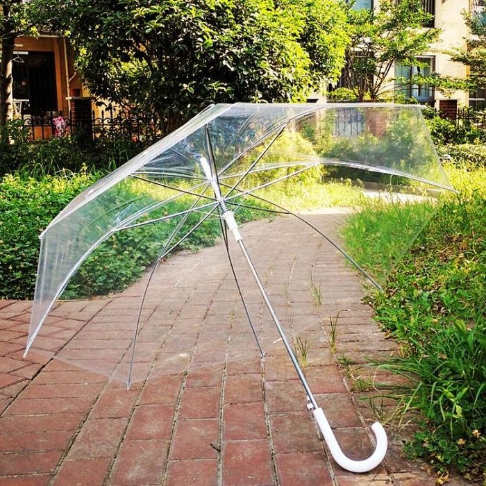 Qiutong加大108cm透明雨傘 長柄傘 自動雙人傘情侶透明傘廣告傘男女