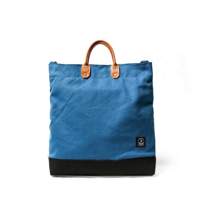 點子包【icleaXbag】簡約L號真皮帆布購物袋 手提包 含背帶 天空藍 A4可放 DG34