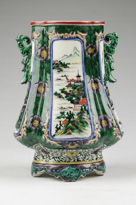 日本 明治 九谷 鎏金 福字款 寶瓶