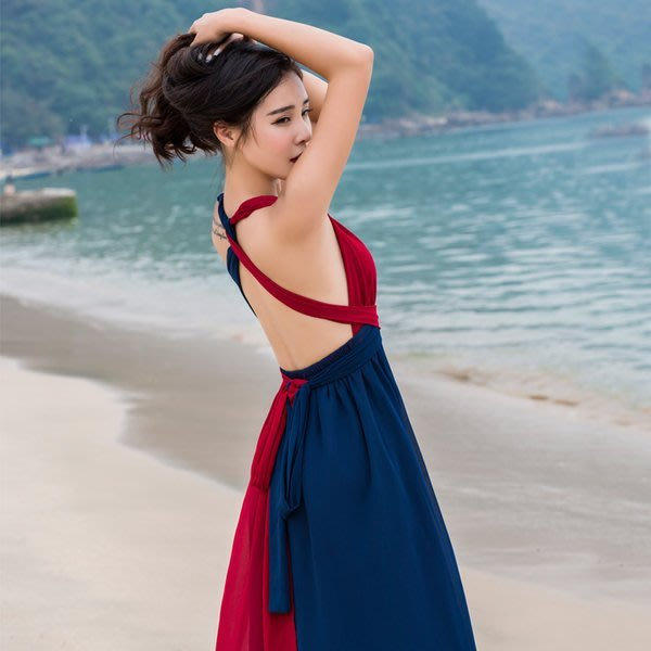 露背長裙沙灘綁帶連衣裙E6063 波西米亞長裙原創設計長洋裝