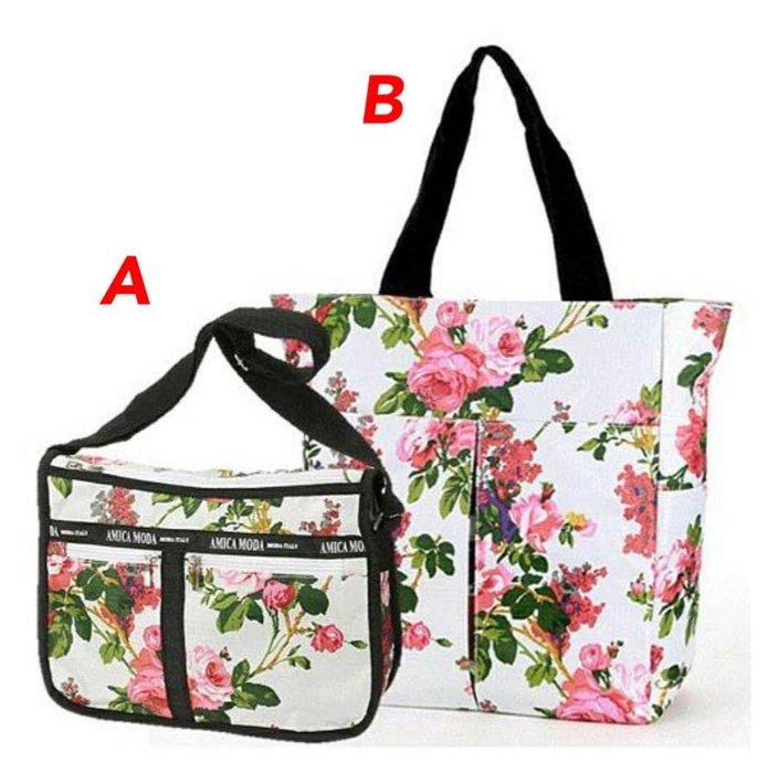 日本進口玫瑰花拉鏈帆布袋(二款單賣)