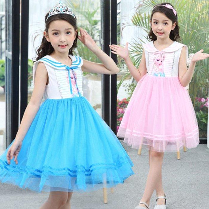 •*~ 辣媽咪衣飾小舖 ~*•❤童裝系列❤Y950617韓版兒童夏裝甜美學院風冰雪奇緣艾莎公主洋氣洋裝