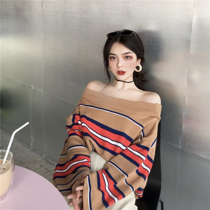 韓版 平口T恤 一字肩 ~女chic復古慵懶風撞色條紋 一字肩 長袖針織衫上衣