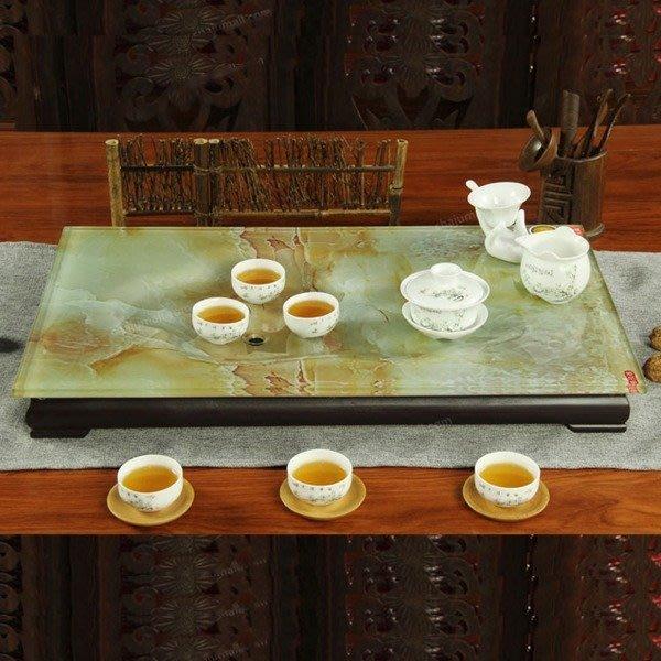 5Cgo【茗道】含稅會員有優惠 37292317461 玻璃茶盤實木底座功夫茶具現代琉璃茶臺泡茶石頭紋茶 61*36cm