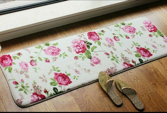 粉紅玫瑰精品屋~玫瑰浴室腳墊吸水海綿地墊防滑地墊飄窗墊~130*190