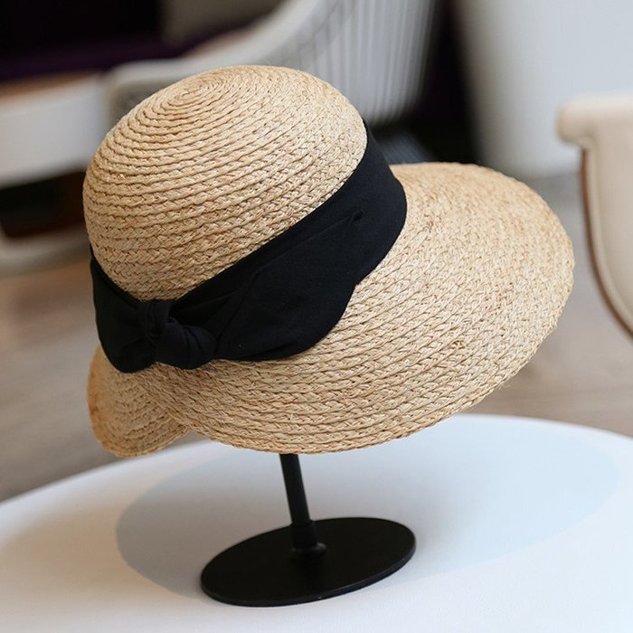 100percent赫本風手工編織拉菲草帽法式優雅蝴蝶结氣質大沿帽防晒帽