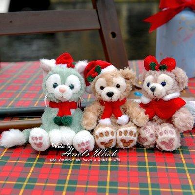 Ariels Wish日本東京迪士尼Duffy達菲熊雪莉玫畫家貓咪傑拉東尼聖誕節耶誕格紋坐姿手機吊飾包包掛飾-三款現貨