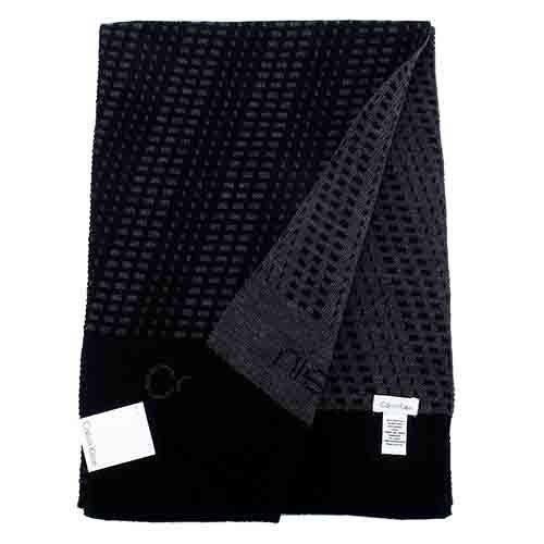 【姐只賣真貨】Calvin Klein CK新款雙色編織LOGO圍巾(黑灰/咖啡/深藍)