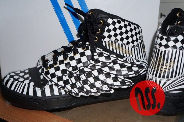 特價「NSS』adidas OBYO JEREMY SCOTT JS WINGS 黑白棋盤格 翅膀 鞋 9 10