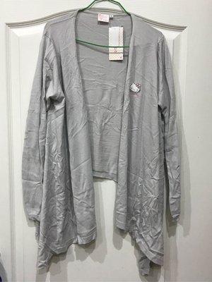 *凱西小舖*日本進口正版 KITTY 凱蒂貓 前長後短 修飾款 灰色針織薄外套
