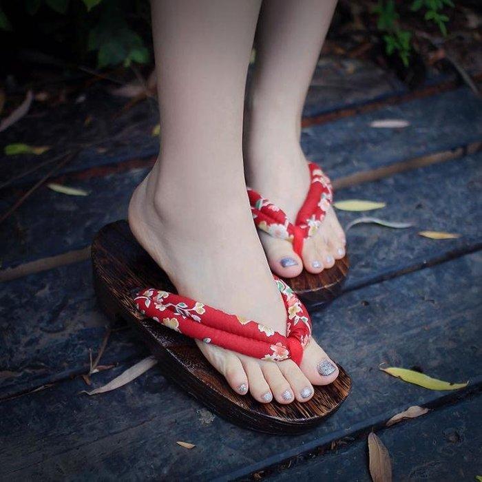珍凡妮橡膠女日式平底木屐木拖鞋木屐鞋人字拖情侶厚底