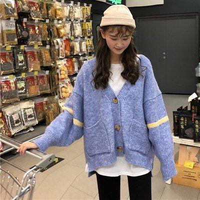 網紅毛衣外套女冬新款韓版百搭chic寬松上衣慵懶風針織開衫