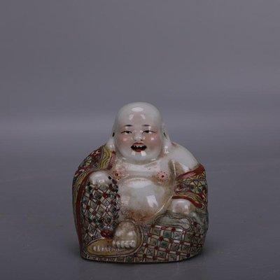 【三顧茅廬 】民國大師曾龍昇粉彩羅漢彌勒佛像 小件雕塑瓷古瓷器收藏品