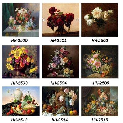 三幅一組油畫布 花卉植物花開富貴 畫芯...