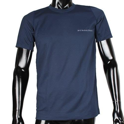 【姊只賣真貨】BURBERRY 日本限定正品男仕輕著運動夏季圓領貼身透氣短袖T恤上衣(深藍)