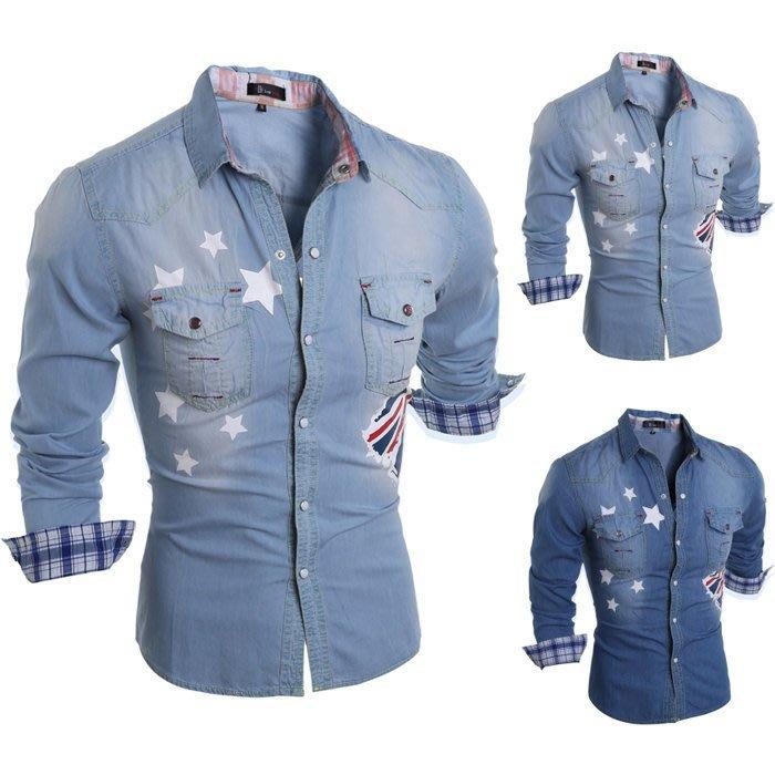 『潮范』 WS10 新款韩版纯棉男士长袖襯衫 牛仔衬衫 拼接襯衫 圖案襯衫NRB2806