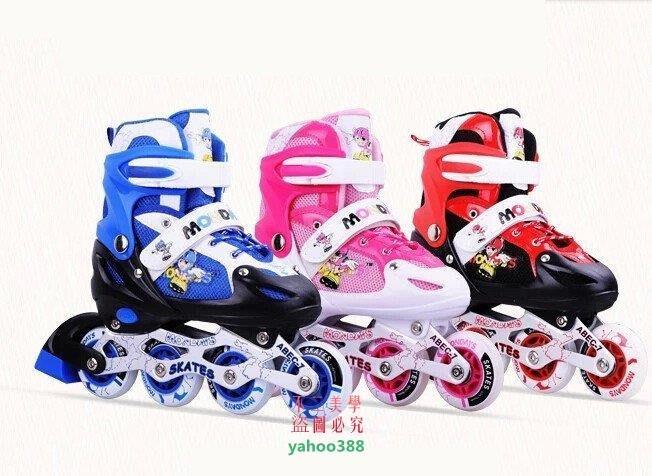 美學94曼迪斯 溜冰鞋兒童全套裝 旱冰鞋滑冰鞋輪滑鞋男女 可調閃光按鈕式❖3529