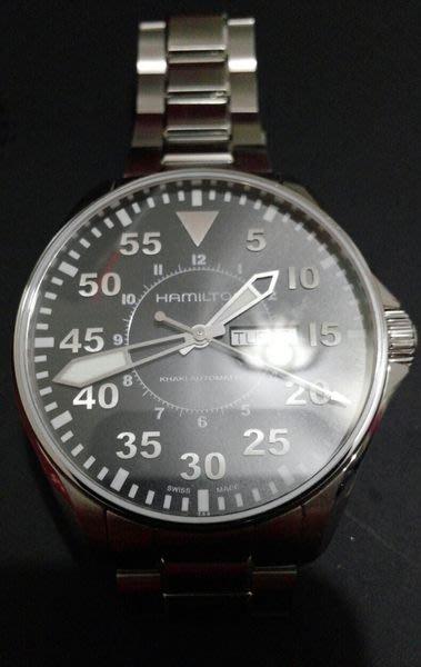 幾乎全新HAMILTON Khaki 航空飛行自動機械腕錶-黑/46mm不鏽鋼款!不等了!19000元成交!